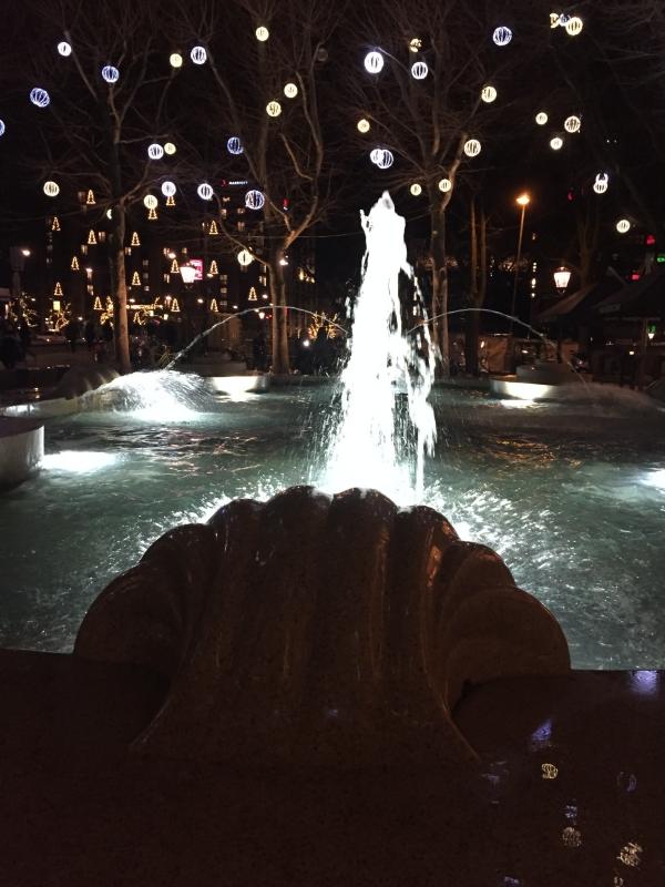 Amsterdam Brunnen mit Weihnachtsbeleuchtung im Hintergrund