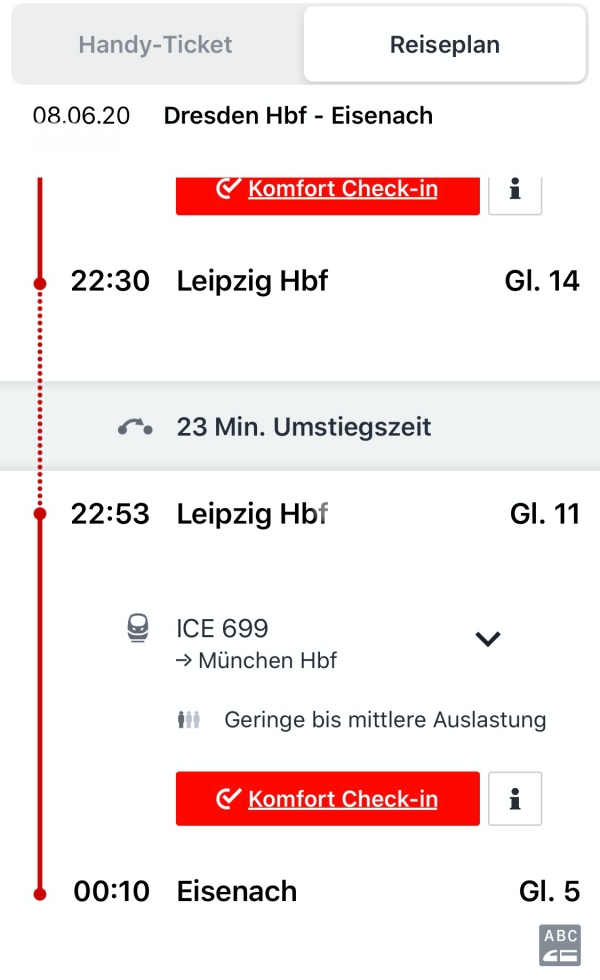 DBakel Screenshot von meiner Reise von Dresden nach Eisenach.