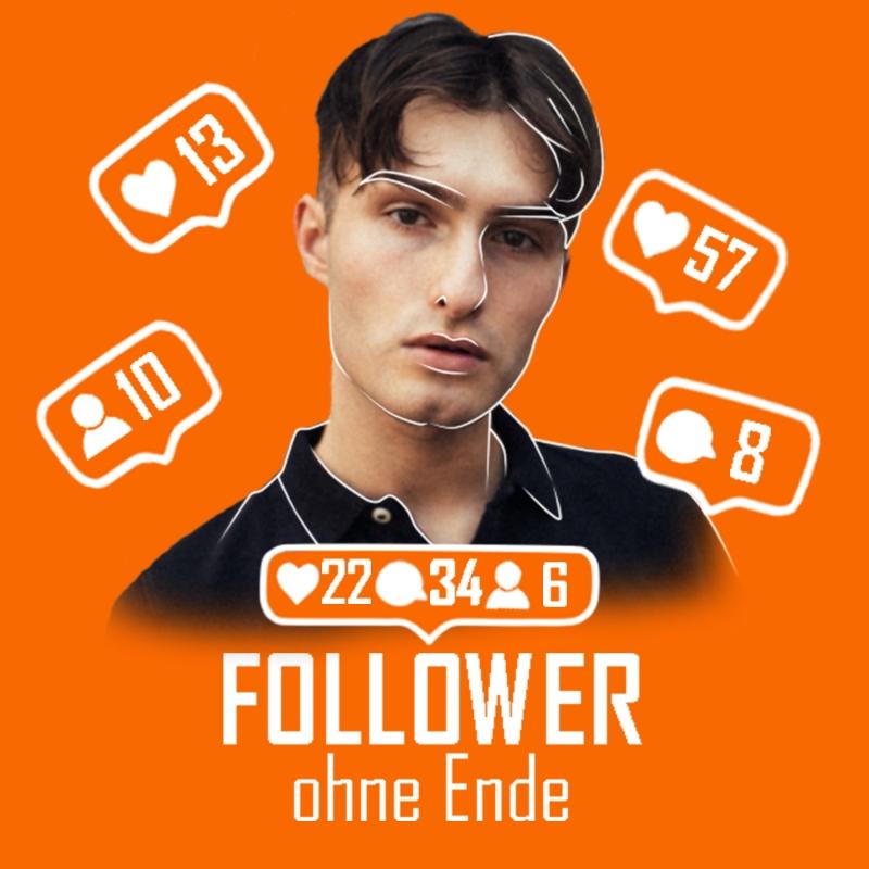 Follower ohne Ende Podcastcover mit Matthew Hintergrund in orange